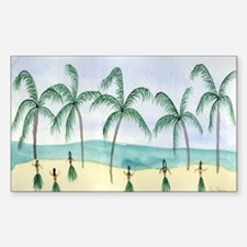 Hulas on the Beach Rectangle Decal