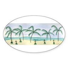 Hulas on the Beach Oval Decal