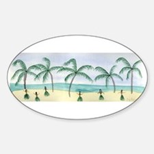 Hulas on the Beach Oval Decal