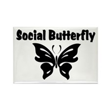 Social Butterfly Rectangle Magnet