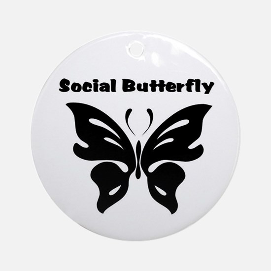 Social Butterfly Ornament (Round)