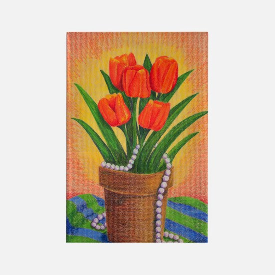 Tulips and Pearls Rectangle Magnet