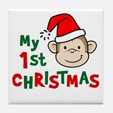 My First Christmas - Monkey Tile Coaster