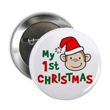 """My First Christmas - Monkey 2.25"""" Button"""