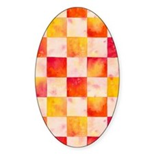 Checkerboard Watercolor Oval Decal