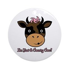 Country Cow Ornament (Round)