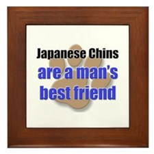 Japanese Chins man's best friend Framed Tile