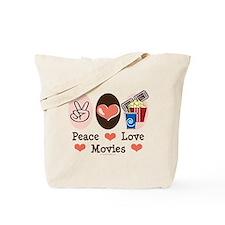 Peace Love Movies Tote Bag