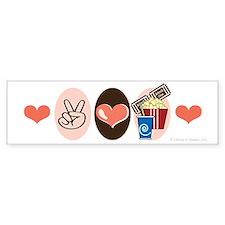 Peace Love Movies Bumper Bumper Sticker