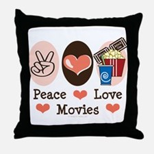 Peace Love Movies Throw Pillow