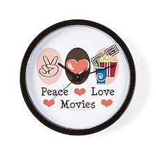 Peace Love Movies Wall Clock