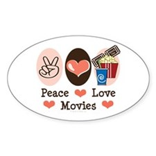 Peace Love Movies Oval Sticker (10 pk)