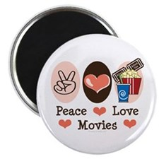"""Peace Love Movies 2.25"""" Magnet (10 pack)"""