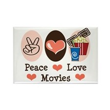 Peace Love Movies Rectangle Magnet