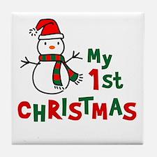My 1st Christmas - Snowman Tile Coaster