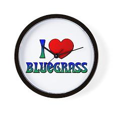 I Love (Heart) Bluegrass Wall Clock