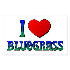 I Love (Heart) Bluegrass Rectangle Decal