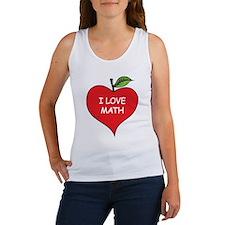 Heart Apple I Love Math Women's Tank Top