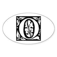 Art Nouveau Initial Q Oval Decal