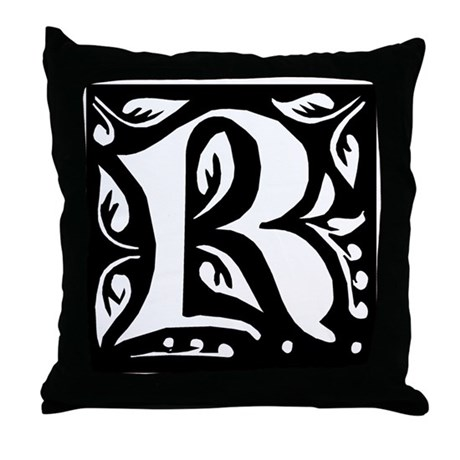 Art Nouveau Initial R Throw Pillow