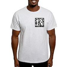 Art Nouveau Initial R Ash Grey T-Shirt