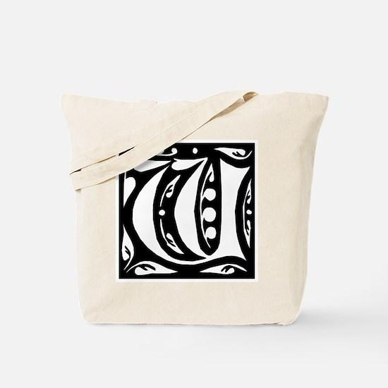 Art Nouveau Initial W Tote Bag
