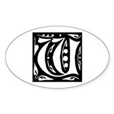 Art Nouveau Initial W Oval Decal