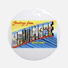 Baltimore Maryland Greetings Ornament (Round)