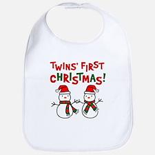 Twins' 1st Christmas - Snowman Bib