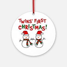 Twins' 1st Christmas - Snowman Ornament (Round)