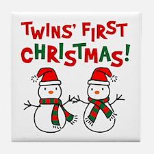 Twins' 1st Christmas - Snowman Tile Coaster