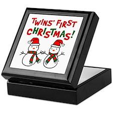 Twins' 1st Christmas - Snowman Keepsake Box