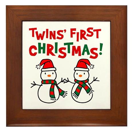 Twins' 1st Christmas - Snowman Framed Tile