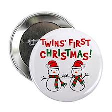 "Twins' 1st Christmas - Snowman 2.25"" Button"
