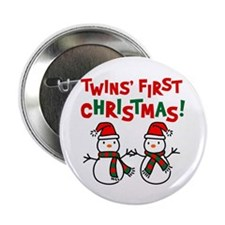 "Twins' 1st Christmas - Snowman 2.25"" Button (10 pa"