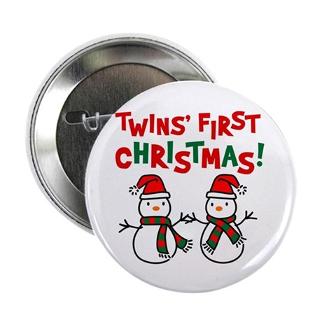 "Twins' 1st Christmas - Snowman 2.25"" Button (100 p"
