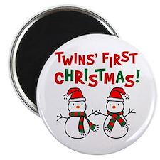 Twins' 1st Christmas - Snowman Magnet