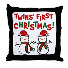 Twins' 1st Christmas - Snowman Throw Pillow
