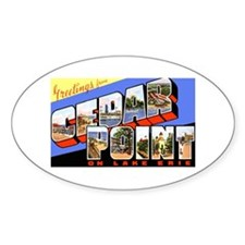 Cedar Point Ohio Greetings Oval Decal