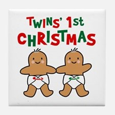 Twins' 1st Christmas Tile Coaster
