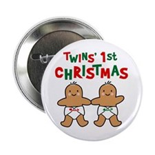 "Twins' 1st Christmas 2.25"" Button"