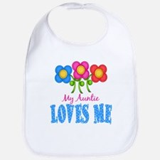 My Auntie Loves Me Flowers Baby Infant Toddler Bib