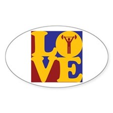 Weight Lifting Love Oval Decal