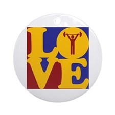Weight Lifting Love Ornament (Round)