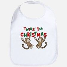 Twins' First Christmas - Monkey Bib