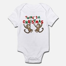 Twins' First Christmas - Monkey Infant Bodysuit