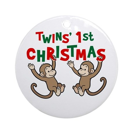 Twins' First Christmas - Monkey Ornament (Round)