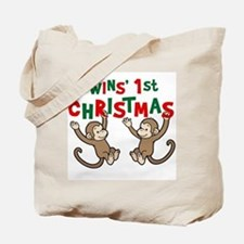 Twins' First Christmas - Monkey Tote Bag