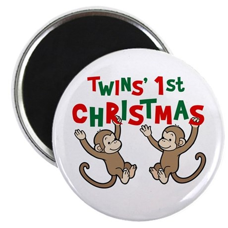 "Twins' First Christmas - Monkey 2.25"" Magnet (100"