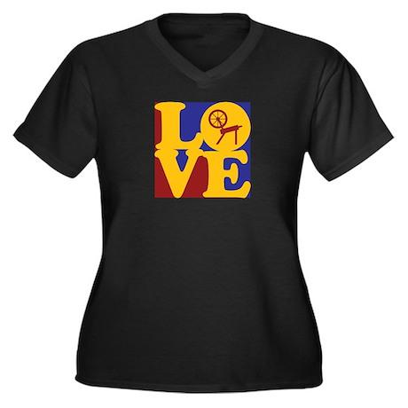 Spinning Love Women's Plus Size V-Neck Dark T-Shir
